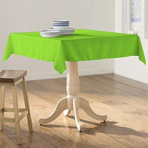 LA Linen Square Tablecloth - 58 x 58  Inch-Square Table Cloth for 36 Table in Washable Polyester - Great for Intimate Dinners, Parties, Holiday Dinner, Wedding & More in  Lime
