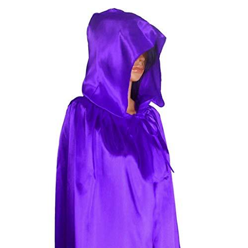 Robe Costume Violet mdival chale 1pc Manteau Cap ELECTRI fte Noir Wicca Halloween Femmes Manteau Cape w1nxqCz