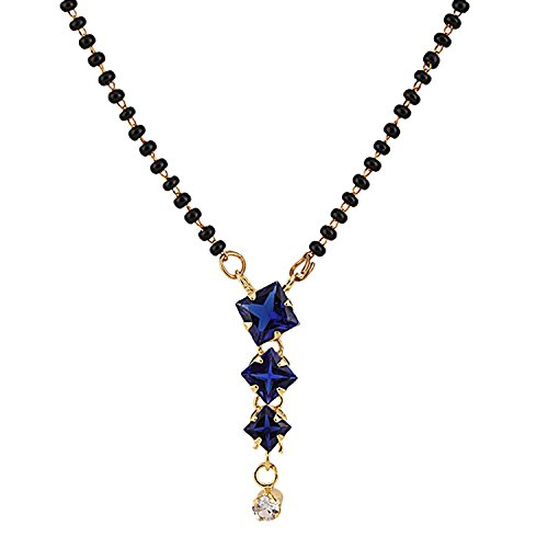 Efulgenz Indian Bollywood Traditional Gold Plated American Diamond CZ Mangalsutra Pendant Necklace Jewelry for Women ()