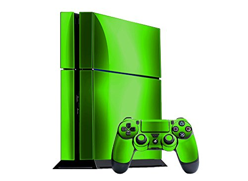 Sony PlayStation 4 Skin (PS4) - NEW - LIME CHROME MIRROR system skins faceplate decal mod (Lime Green Faceplates)