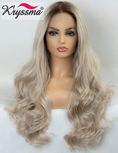 K'ryssma Ombre Blonde Brown Roots Long Wavy Synthetic Lace Front Wigs 22 inch