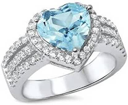 Simulated Aquamarine & Cubic Zirconia Heart .925 Sterling Silver Ring Sizes 5-10
