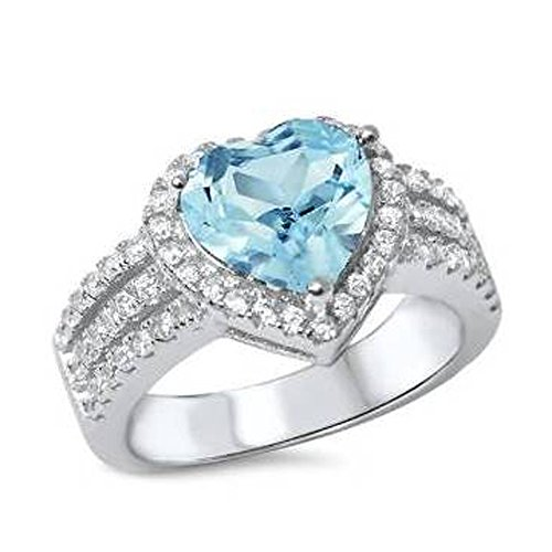 Heart Zirconia Aquamarine Cubic (Simulated Aquamarine & Cubic Zirconia Heart .925 Sterling Silver Ring Sizes 8)