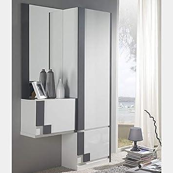 NOUVOMEUBLE Vestiaire d\'entrée Moderne Blanc et Couleur Bois ...