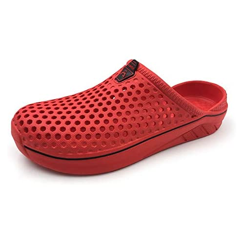 Amoji Garden Women Men Clogs Shoes House Slippers Indoor Shoes Sandals Outdoor Shower Shoes Summer Breathable Light Beach Sport Women Ladies Y182 Red 5.5-6.5 M US Women/4.5-5.5 M US Men