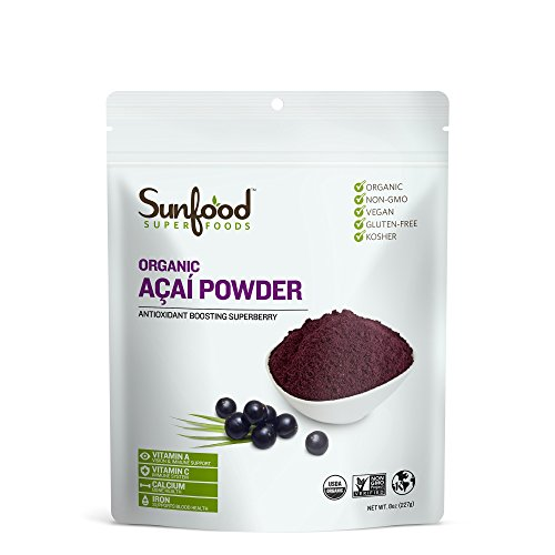 Sunfood Superfoods Organic Acai Powder. Highest Quality 100% Pure: Not an Extract or Concentrate. No Fillers, Additives, Sugar, Sweeteners. Freeze Dried to Preserve Nutrients. 8 oz Bag