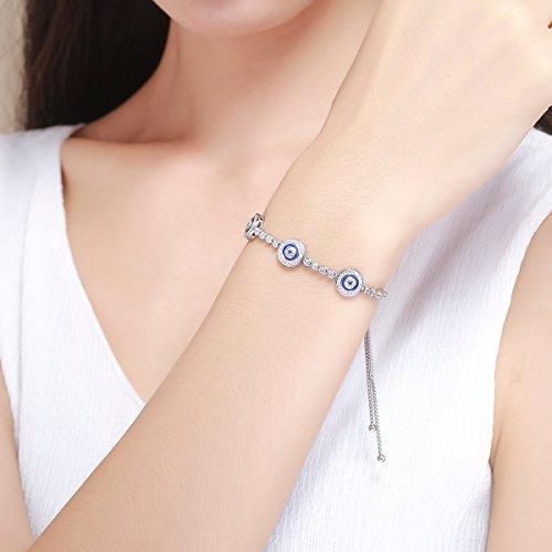 Bracelet porte-bonheur pour femmes extensible en argent sterling 925 mauvais /œil bleu oxyde de Zirconium