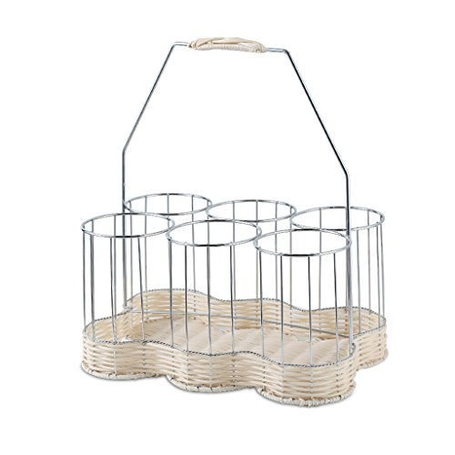 GAOYANG Stainless Steel Rattan Woven Wine Rack Six Bottles Of Woven Rattan Hand-operated Wine Baskets. (Color : ()