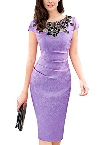 Women's Elegant Patchwork Sheath Short Sleeve Business Dress (Patch Flowers Cream)