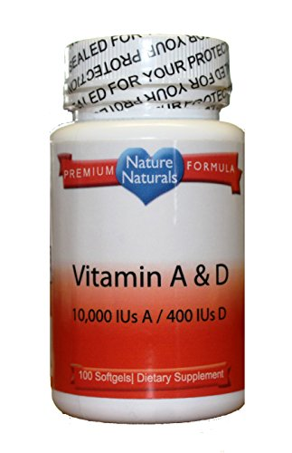 Vitamins A & D 100 Softgels - 10,000 IUs of A and 400 IUs of D From Nature Naturals