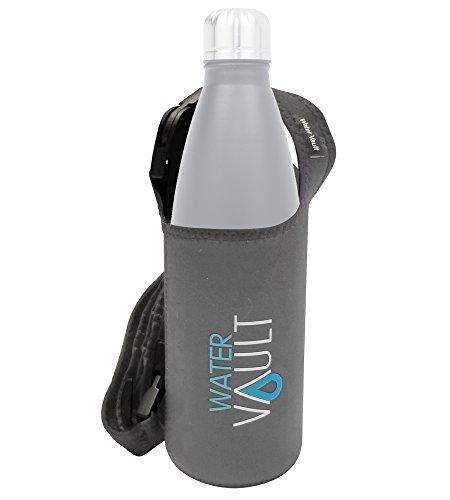 WaterVault Neoprene Bottle Holder, Adjustable Detachable Strap, Shoulder Sling & Hand Carrier - Grey Regular