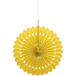 "16"" Yellow Tissue Paper Fan Decoration"