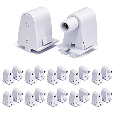 JESLED 10 Pairs T8/T10/T12 Single Pin FA8 Tombstone Base Holder Socket for 8ft LED Fluorescent Tube Light Bulbs Fixtures Flameresistant Plunger Non-Shunted Lampholder UL Listed