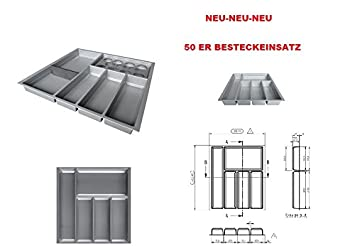 Bandeja organizadora de cubiertos para cajón tamaño 50 - (organizador): 392 x 473,5 mm - cubertería-uso - Para - organizador/inserto cajón-color: gris: ...