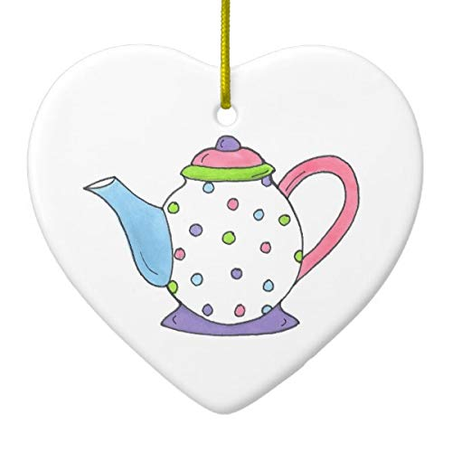 Pink Purple Polka Dot Teapot Tea Pot Personalized Ceramic Ornament