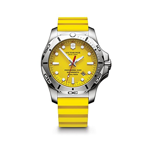 Victorinox Swiss Army Men's I.N.O.X. Stainless Steel Swiss-Quartz Diving Watch with Rubber Strap, Yellow, 22 (Model: 241735.1) (Diving Swiss Watch)