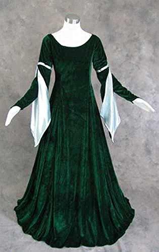 Artemisia Designs Medieval Renaissance Gown Dress Dark Green Poly Velvet Small