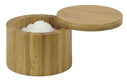 - Home Basics Bamboo Swivel Salt Box with Magnetic Lid, Natural Honey