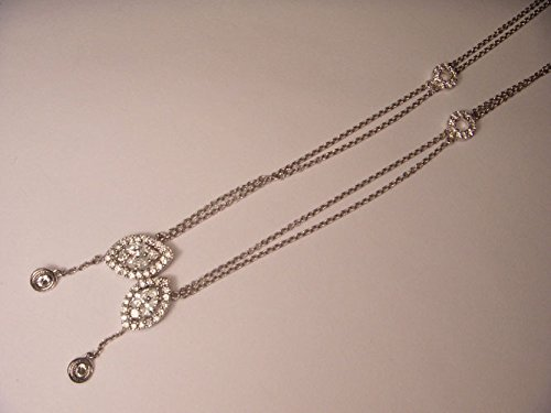 Beautiful 14K White Gold Diamond Lariat Cluster Station Designer Pendant Slide