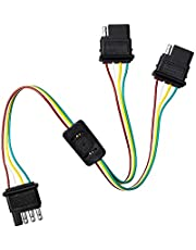 4Pin Flat Trailer Cable, Megulla Universal 2-Way Y-Splitter Flat Trailer Wire Harness Extension Connector Plug for LED Tailgate Light Bar and Trailer Light