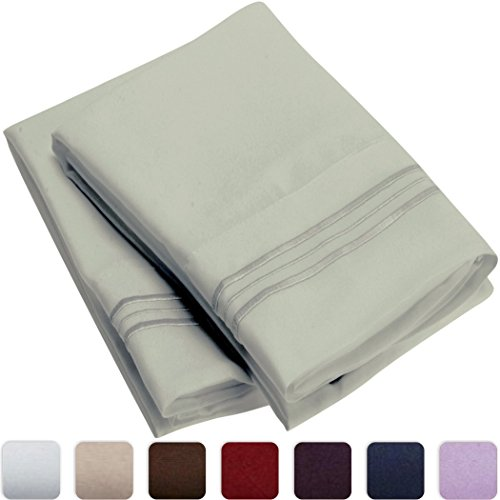 Mellanni Luxury Pillowcase Set - HIGHEST QUALITY Brushed Microfiber 1800 Bedding - Wrinkle, Fade, Stain Resistant - Hypoallergenic (Set of 2 King Size, Spa Mint)
