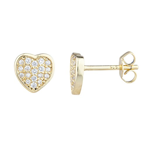 Lux Accessories Gold Tone Faux Rhinestone Pave Heart Stud Earrings Pair