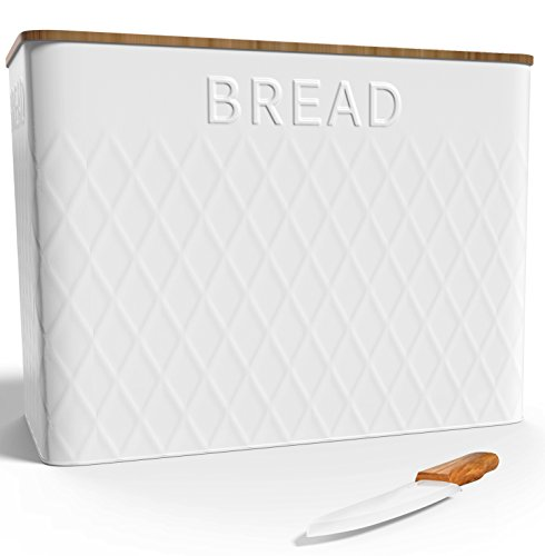 Extra Large Vertical Bread Box + Bamboo Cutting Board + Ceramic Knife - Food Storage - Non Toxic - Eco Friendly