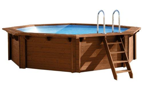 Interline-50700210-Bali-Auf-und-Erdeinbau-Holzwand-Rund-Pool-440-x-136-m-Pumpe-6-m-Sandfilter-Set-4-m