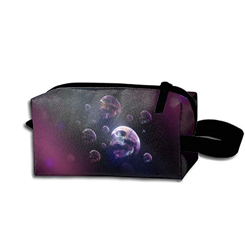 Cosmetic Bags Portable Travel Toiletry Pouch Dark Skull CGI Digital Art 3D Psychedelic Trippy Halloween Abstract Makeup Organizer]()