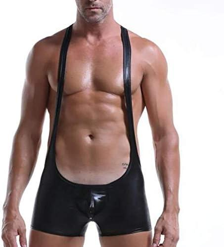 男性ボディスーツレスリングシングレット快適な通気性のフェイクレザーセクシーなレオタード下着