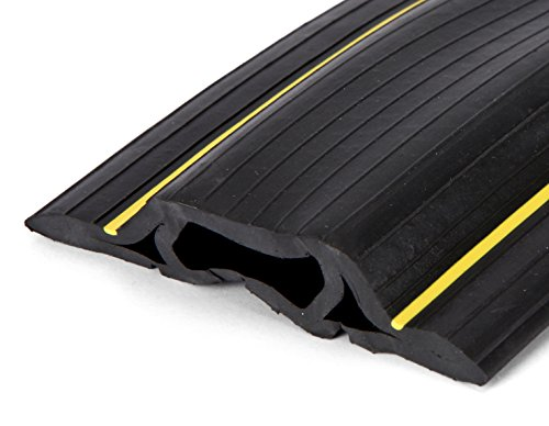 6.5 Feet Heavy Duty Cable Protector + Cord Cover - 3 Cord Channels - Durable Black PVC is Flexible, Odor Free, Easy to Unroll and Open - Conceal Wires at Home, Office, Warehouse, Workshop, Concerts