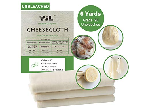 Unbleached Cheesecloth for Straining 100% Cotton Grade 90 Regency Natural Ultra Fine Cheesecloth | 6 Yard Cheesecloth for Cooking | Straining | Canning | Steaming and Halloween Decorations ()