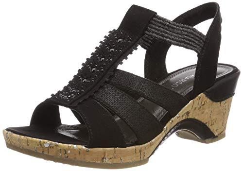 Marco Tozzi Women's Black Jewelled Slip On Platform Mid Heel Sandal UK 7 - EU 40 - US 9
