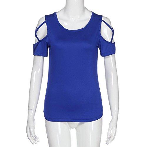 Corta Shirt CorteCausale Maglia Tumblr Camicetta Donna Divertenti Manica Beautyjourney Top Magliette Estive T Maniche Blu Elegante Tunica BdCroWxe