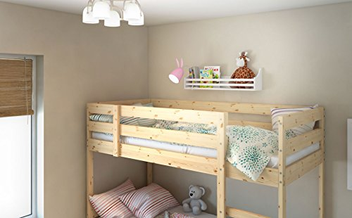 Wooden Bunk Bed Shelf Bookcase and Bedside Storage for Children's Kids Room (White)
