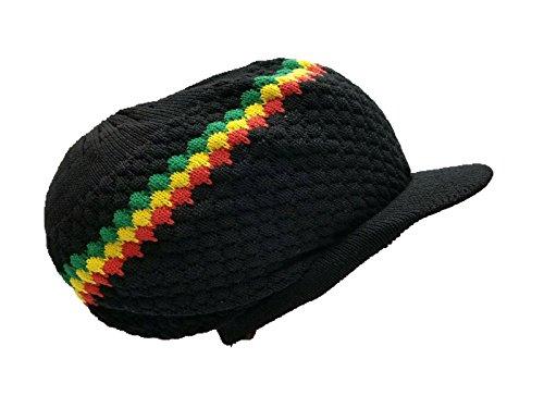 Rasta Hat Crown Cap Black Dread Irie Knit Beanie One Love Reggae Jamaica -