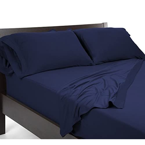 Laxlinen 450 Thread Count 100% Egyptian Cotton Super Quality 1PC Flat Sheet(Top Sheet) King/Standard Size, Navy Blue Solid for cheap