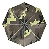 Military Camouflage Texture Compact Travel Inverted Umbrella, Outdoor Rain Sun Car Folding Reversible Umbrellas for Windproof, Reinforced Canopy, UV Protection, Ergonomic Handle, Auto Open/Close
