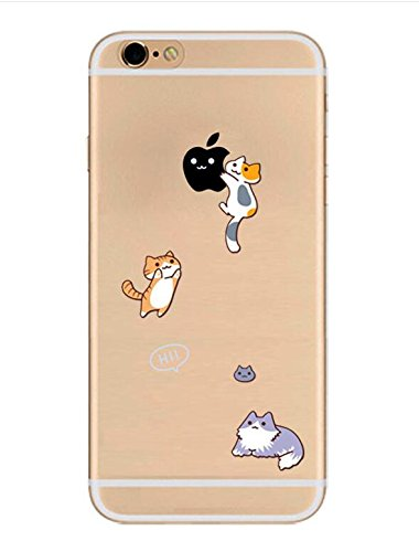 iPhone 8/iPhone 7 Case(4.7inch),Blingy's Creative Design Funny Animal Transparent Clear Flexible Soft Slim Rubber Case for iPhone 8/iPhone 7 (Three - Clear Cat