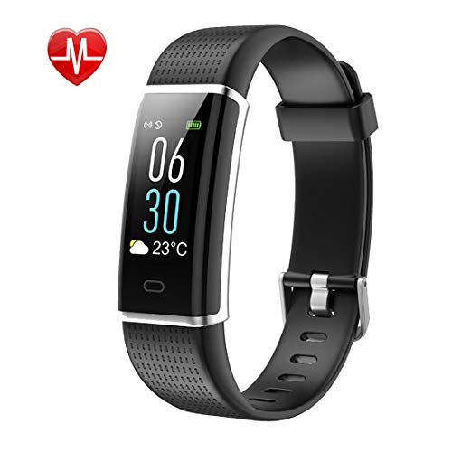 Letuboner Fitness Tracker,Color Screen Activity Tracker with Heart Rate Monitor,IP68 Waterproof Smart Wristband with Pedometer Calorie Counter Watch Sleep Monitor for Android and iOS (#1Blacl)