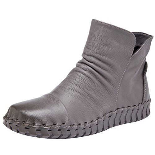 Mordenmiss Womens New Fall Winter Martin Flat Plain Toe Boots Style 2 Fleece Gray G75RTIppq