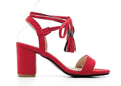 Beauqueen Suede borlas Bombas Open-Toe Corbatas Chunky mediados de verano Summer playa banquete de boda Elegante Sandals Personalizado Europa Tamaño 34-43 Red