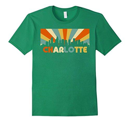 70s Kelly Green (Mens Charlotte City T-Shirt, Retro Vintage NC North Carolina 70s Medium Kelly Green)