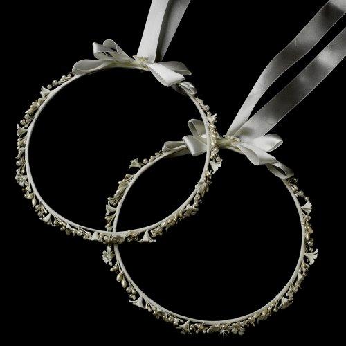 Nicoletta White Flower & Pearl Greek Stefana Wedding Crowns Bridal Ribbon Headband (Orthodox Wedding Crowns)