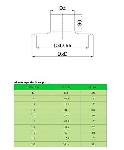 Kaminaufsatz Schornsteinaufsatz Aufsatz s/äuerbest/ändiger Edelstahl L/üftungsaufsatz Hahn und Standard-Design Grundplatte Kaminabdeckung /Ø80-200mm von rg-vertrieb Hahn 100mm