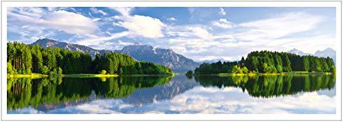 st Lake Poster XXL, Panorama Art Print - 46.8 x 16.5 Inch, Forggensee, Neuschwanstein, Fuessen, Bavaria, Germany, Alps, King Ludwig II, Koenigswinkel | Wall Decoration ()