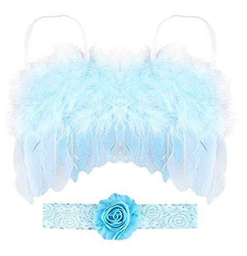 Rush Dance - Cinta de ángel de hada para fotografía de recién nacido, alas de princesa y diadema, Light Blue With Flowers,...