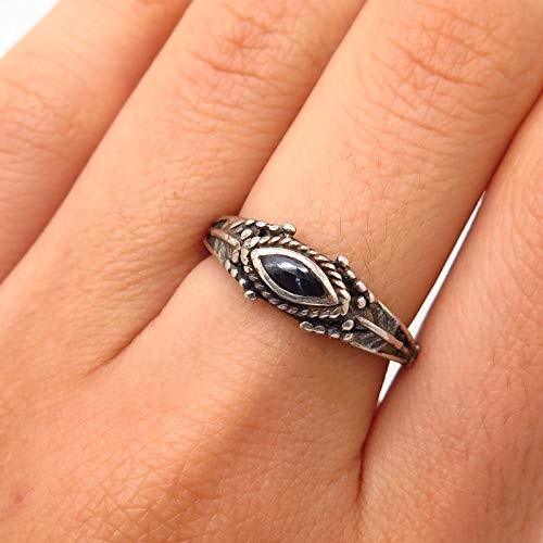 VTG 925 Sterling Silver Real Black Onyx Gem Floral Design Ring Size 7 Jewelry by Wholesale Charms (Design Onyx Ring)