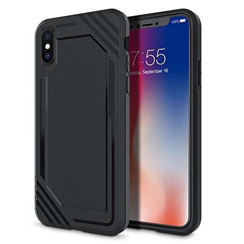 iPhone X Case, Cohesiongo Premium Hybrid Anti-Scratch Protective Resistant Dual Layer Rugged Case for Apple iPhone X (Black)