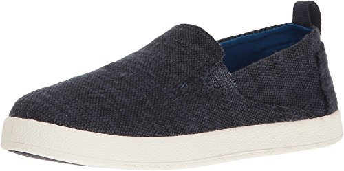 TOMS Kids Unisex Avalon Slip-On (Little Kid/Big Kid) Navy Slubby Linen Loafer